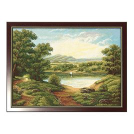 Изумрудный пейзаж (69х51 см) — картина в багете