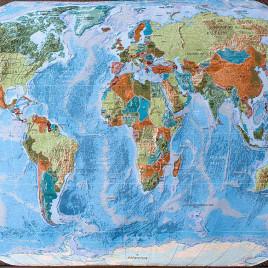 Карта Мира (235*140 см) — скатерть декоративная на подкладке
