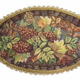 Осенний вальс (50х30 см) — салфетка овальная с тесьмой