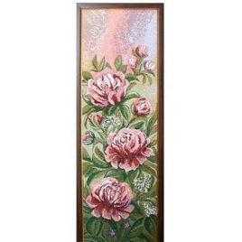 Пионы розовые (26*86 см) — картина в багете