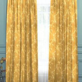 Ажурный лист (золото) 145*280 см — комплект штор