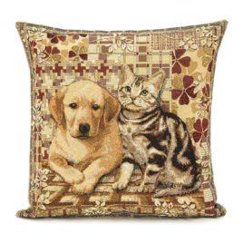 Щенок и котёнок (50х50 см) — наволочка декоративная