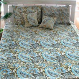 Восток (голубой) 235х235 см — комплект покрывала с наволочками