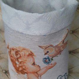 Ангел (25х25 см) — корзинка текстильная