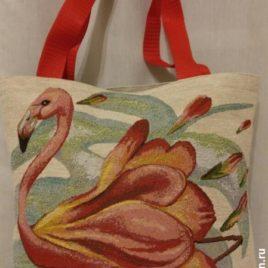 Фламинго (35х33 см) — сумка гобеленовая