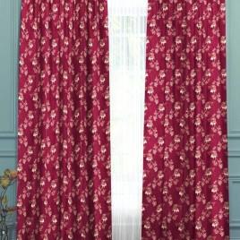 Розочки (бордо) 145*280 см — комплект штор