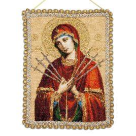 Пресвятая Богородица Семистрельная (15х18 см) — панно-икона гобелен