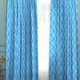 Розочки (голубой) 145*280 см — комплект штор