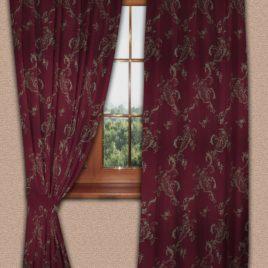 Ажурный лист (бордо) 145*280 см — комплект штор