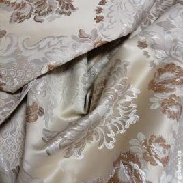 Версаль Крупный (беж с серебром) — ткань портьерная