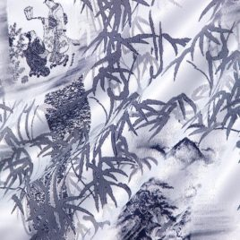 Бамбук (синий) 145х280 см — комплект штор