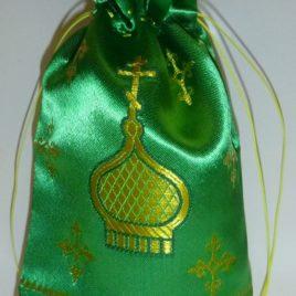 Мешочек подарочный (зелёный) 14*22 см