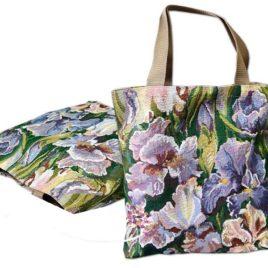 Розово-сиреневые ирисы (36х36 см) — сумка гобеленовая
