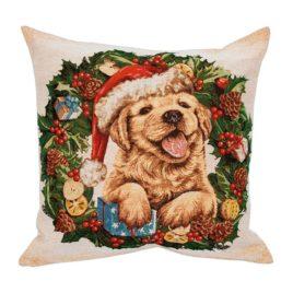 Рождественский венок (50х50 см) — наволочка декоративная