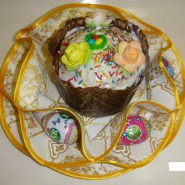 Хризантема (белая с золотом) d38 см — салфетка пасхальная
