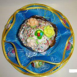 Хризантема (голубая) d38 см — салфетка пасхальная