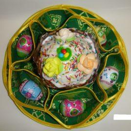 Хризантема (зелёная) d38 см — салфетка пасхальная