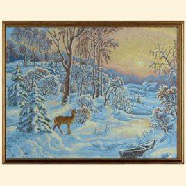 Зимний пейзаж (55*43 см) — картина в багете