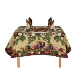 Новогодний (160х160 см) — комплект скатерть с салфетками