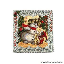 Снеговик и компания (35х35 см) — салфетка гобеленовая