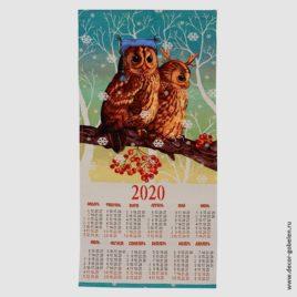 Совы (36х75 см) — календарь гобеленовый 2020г