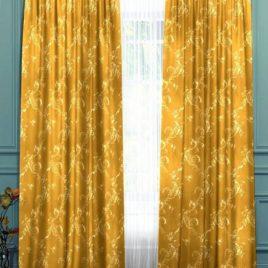 Ажурный лист (золото) 145х280 см — комплект штор