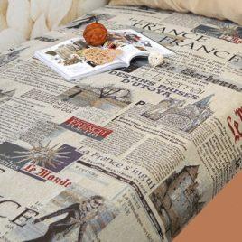 Газета (серый) 150х220 см — покрывало гобеленовое