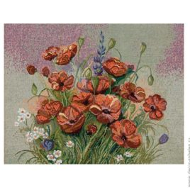 Маковый цвет (50х40 см) — салфетка гобеленовая