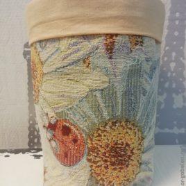 Ромашки (с шинилом) 26х22 см — текстильная корзинка