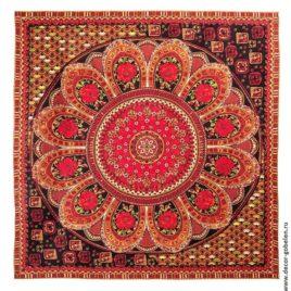 Павлово-Посадский платок (красный) 235х235 см — панно гобеленовая