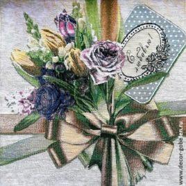 Роза с любовью (39х38 см) — гобелен без рамки