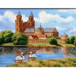 Замок у пруда (73х50 см) — гобелен без рамки